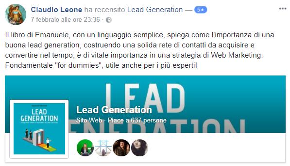 Recensione Libro Lead Generation Claudio
